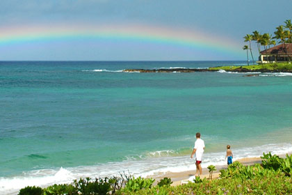 Rainbow at Poipu Beach