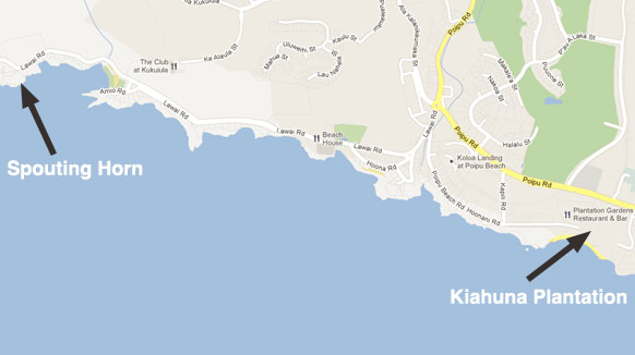 Map to Spouting Horn from Kiahuna Plantation